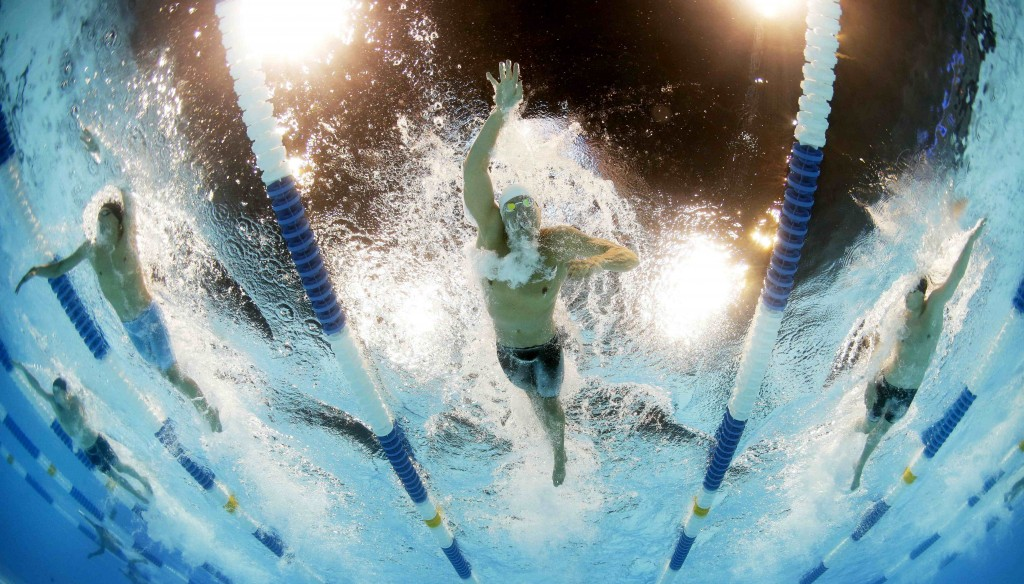 Peter Vanderkaay swims in the men's 400-meter freestyle preliminaries at the U.S. Olympic swimming trials, Monday, June 25, 2012, in Omaha, Neb. (AP Photo/David Phillip)