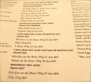Carta de carnes del restaurante Rockpool Bar&Grill Restaurant, Sydney.
