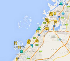 App MyPins: ejemplo mapa de Dubai con lugares a visitar, restaurantes, playas, zonas de compras, aeropuerto, etc. Puede ir ampliándose todo lo que permita GoogleMaps