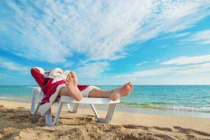 Concepto caribeño de las navidades segúnSanta Claus