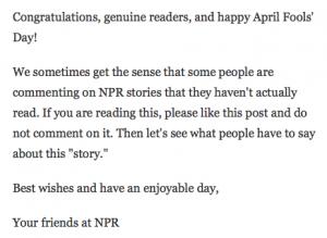 Experimento de la cadena radiofónica americana NPR