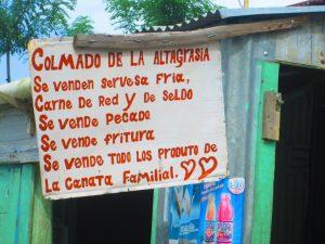Letrero de un colmado en mi región, La Altagracia