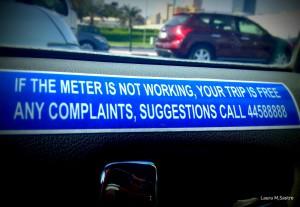 Si el taxímetro no está en funcionamiento, su carrera le sale gratis.