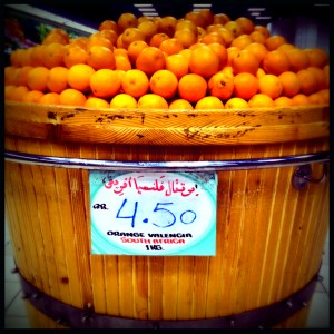 Naranjas valencia de Sudáfrica en temporada de invierno.