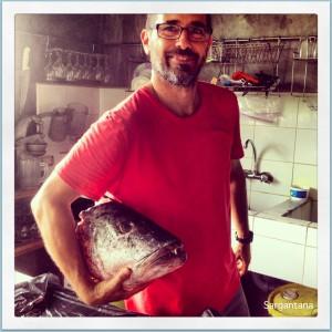 Miguel en la cocina de Finca Maresia