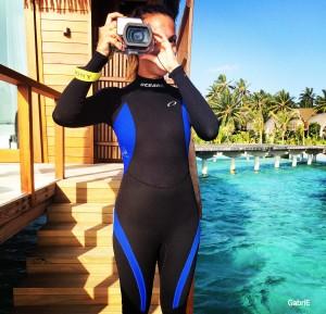 Preparada para fotografiar el mundo submarino