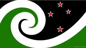 Propuesta bandera neozelandesa: La bandera del neozelandés Otis Frizzell se basa en el tradicional koru maorí y en la constelación de la Cruz del Sur.