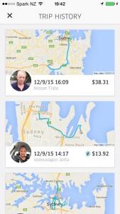 App móvil UBER: desde mi móvil puedo ver el histórico de mis trayectos ordenado por fecha.