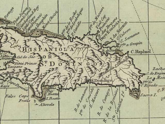 Mapa antiguo de la isla de la Española