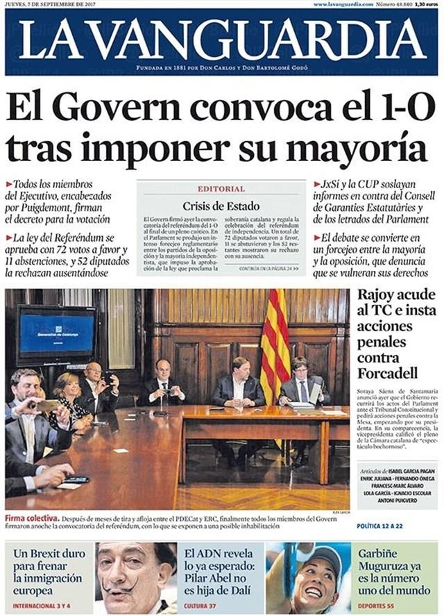 Portada del periódico La Vanguardia del 7 de Septiembre 2017